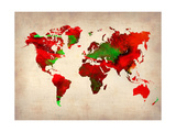 World Watercolor Map 4 Metal Print by  NaxArt