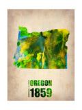 Oregon Watercolor Map Metal Print by  NaxArt