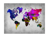 World Watercolor Map 13 Metal Print by  NaxArt