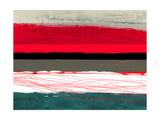 Abstract Stripe Theme Red Grey and White Alu-Dibond von  NaxArt