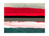 Abstract Stripe Theme Red Grey and White Metal Print by  NaxArt