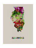 Illinois Color Splatter Map Metal Print by  NaxArt