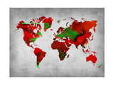 World Watercolor Map 11 Metal Print by  NaxArt