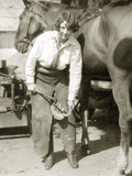 Female Farrier with Horse, 1927 Metal Print by  Scherl