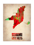 Miami Watercolor Map Metal Print by  NaxArt