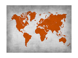 World Map 14 Metal Print by  NaxArt