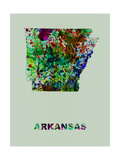 Arkansas Color Splatter Map Metal Print by  NaxArt