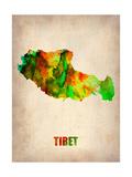 Tibet Watercolor Map Metal Print by  NaxArt