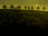 A Man Walking a Large Dog Past a Row of Small Trees Metal Print by Susan Bein