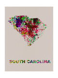 South Carolina Color Splatter Map Metal Print by  NaxArt