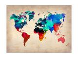 World Watercolor Map 1 Metalldrucke von  NaxArt