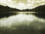 Water Reflecting Bordering Trees and Sky Metal Print by Jan Lakey
