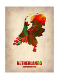 Netherlands Watercolor Map Metal Print by  NaxArt