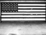 Patriotic American Flag Garage Door, Albuquerque, New Mexico, Black and White Metal Print by Kevin Lange