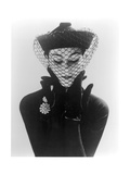 Anne Gunning in an Erik felt and Velvet Mandarin Hat with Veil, 1950 Metal Print by John French