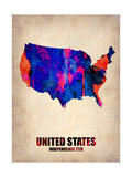 Usa Watercolor Map 1 Metal Print by  NaxArt