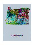 Oregon Color Splatter Map Metal Print by  NaxArt
