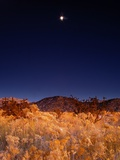 Sandia Mountains Desert Twilight Landscape Moon Rise, New Mexico Metal Print by Kevin Lange