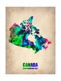 Canada Watercolor Map Metal Print by  NaxArt
