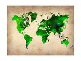 World Watercolor Map 6 Kunst auf Metall von  NaxArt