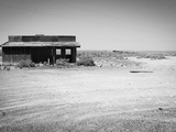 Arizona Deserted Building Architecture Landscape, Two Guns Ghost Town in Black and White Metal Print by Kevin Lange