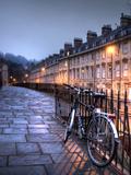 Night Winter Street Scene in Bath, Somerset, England Metal Print by Tim Kahane