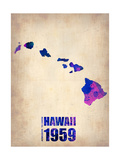 Hawaii Watercolor Map Metal Print by  NaxArt
