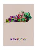 Kentucky Color Splatter Map Metal Print by  NaxArt