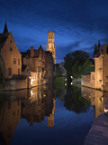 Belfort and River Dijver, Bruges, Flanders, Belgium Metal Print by Alan Copson