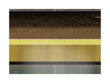 Abstract Yellow and Brown Parallels Metalldrucke von  NaxArt