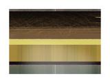Abstract Yellow and Brown Parallels Konst på metall av  NaxArt