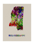 Mississippi Color Splatter Map Metal Print by  NaxArt