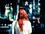 Red Hair and Bokeh Metal Print by Sharon Wish