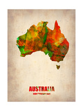 Australia Watercolor Map Metal Print by  NaxArt