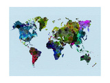 World Watercolor Map 3 Metal Print by  NaxArt