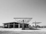 Arizona Deserted Gas Station Architecture Landscape, Two Guns Ghost Town in Black and White 3 Metal Print by Kevin Lange
