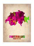 Switzerland Watercolor Map Alu-Dibond von  NaxArt