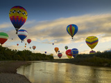 Balloons Soaring About Sandia Mountains and Rio Grande River During Albuquerque Balloon Fiesta Metal Print by James Shive