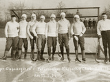 Ice hockey team of the Leipzig Sports Club, 1907 Reproduction sur métal par  Scherl