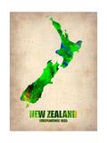 New Zealand Watercolor Map Metal Print by  NaxArt