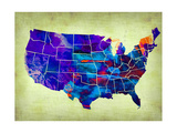 Usa Watercolor Map 5 Metal Print by  NaxArt