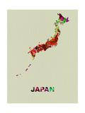 Japan Color Splatter Map Kunst auf Metall von  NaxArt
