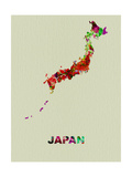 Japan Color Splatter Map Metal Print by  NaxArt