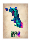 Chicago Watercolor Map Metal Print by  NaxArt