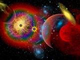 The Universe in a Perpetual State of Chaos Reproduction sur métal par  Stocktrek Images