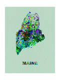 Maine Color Splatter Map Metal Print by  NaxArt