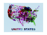 United States Color Splatter Map Metal Print by  NaxArt
