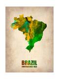 Brazil Watercolor Map Metal Print by  NaxArt