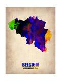 Belgium Watercolor Map Metal Print by  NaxArt