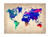 World Watercolor Map 2 Metal Print by  NaxArt